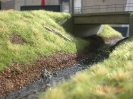 Im Bach fließt Wasser und Gras ist gewachsen. Hier die Südseite der Bachbrücke.