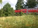 EIne Regionalbahn quert den Bachlauf.